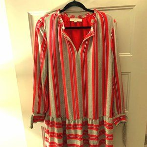 AT Loft Red/White stripe dress with tie blouse